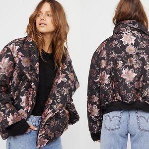 Free People Jacquard Puffer Floral Jacket Boho L